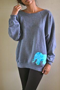 Looks so comfy & cute. I want one. (elephant sweatshirts custom orders by caseykaui on Etsy, $45.00)
