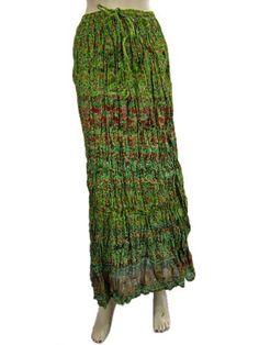 """Cotton Skirts for Womens Forest Green Crinkle Long Summer Skirt Boho 38"""" Mogul Interior, http://www.amazon.com/dp/B006WY69V2/ref=cm_sw_r_pi_dp_Ge4Ppb00KKX4H"""