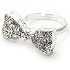 This stunning silver ring features a beautiful medium sized silver bow incrusted in gorgeous sparkling white rhinestone. Sparkly Jewelry, Cute Jewelry, Korean Accessories, Jewelry Accessories, Silver Bow, Silver Rings, Fashion Rings, Fashion Jewelry, Korean Jewelry