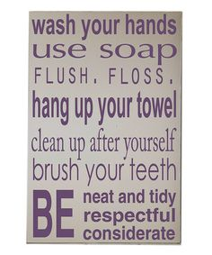 Take a look at this Cream & Purple Bathroom Rules Wall Art by Vinyl Crafts on #zulily today!