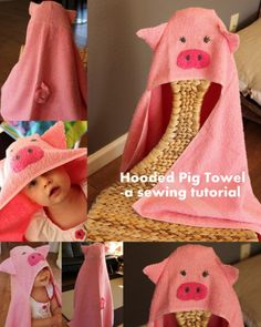 My friend thought a pig towel for her baby would be hilarious. I concurred. And thus, the hooded pig towel was born. My little model loved this towel a lot and I'll tell you how I made it just in...