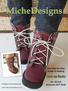 """Lace Up Boots 18"""" Doll Shoes"""