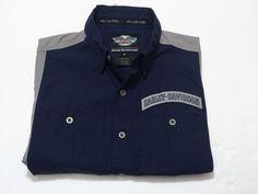 Harley Davidson M Men's Button Front Garage Shirt Blue Grey Motorcycle Medium #HarleyDavidson #ButtonFront