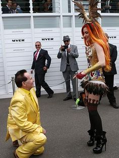 Geoffrey Edelsten gets down on one knee. - Pasanna & Bruce, serious competition in the tasteful wedding stakes right here.