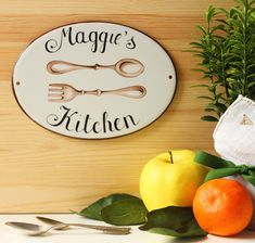 Housewarming gift for a personalized kitchen in shabby chic style! A rustic kitchen sign, entirely hand painted on porcelain plaque with ancient cutlery and your name. Very suitable for farmhouse kitchen or for any location. ★ADVANTAGES OF A CUSTOM SIGN Farmhouse Kitchen Signs, Kitchen Decor Signs, Shabby Chic Farmhouse, Shabby Chic Kitchen, Shabby Chic Style, Rustic Kitchen, Beach House Signs, Vintage Cutlery, Personalized Gifts For Mom