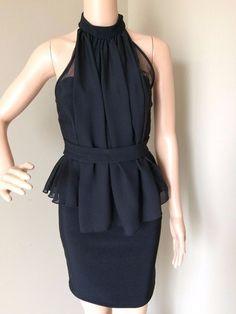 0c90b058809 Vintage Guess Womens Black Choker Neck Halter Peplum Dress Sheer Top Medium