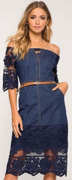 Siempre estás a tiempo de arrancar la blonda. Delancy Denim Crochet Dress #fashion women