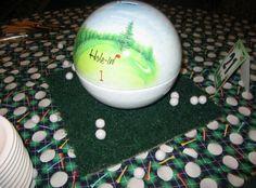 Golf ball bank Bar Mitzvah centerpieces! | MitzvahMarket.com