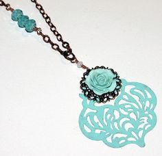 Antique Bronze Filigree Necklace, Hand Painted by groovychickjewelry, $18.50
