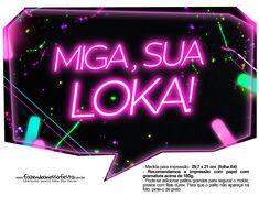 Plaquinhas Neon para Meninas 8 totalmente grátis, pronto para personalizar e imprimir em casa. Neon Party, I Party, 15th Birthday, Birthday Bash, 80s Party Decorations, Neon Cakes, Cake Lettering, Fantasy Party, Water Games For Kids