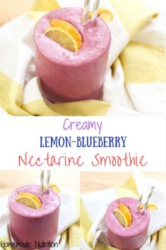 This beautiful smoothie recipe with blueberries, nectarines, and fresh lemon juice also has a secret veggie ingredient that no one will know is there...beets! #recipe