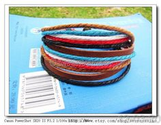 Real Surfer Leather and Multicolour Hemp Rope Cuff by sevenvsxiao, $7.50