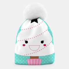 Beanie with Happy Japanese tree white pink, Live Heroes Japanese Tree, Design Shop, Unique Image, Beanies, Live, Creative, Illustration, Happy, Prints