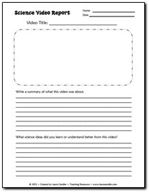 Science Video Report Freebie - Keep a set of these on hand to leave with a sub in an emergency. Generic form works with just about any science video.