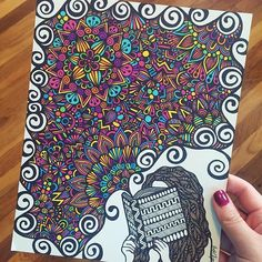 with a black and white cover, comes a colorful imagination! one of my favorite custom orders is finally finished! #customorder #zentangle #zenspire #zenspiredesigns #prismamarker ✨