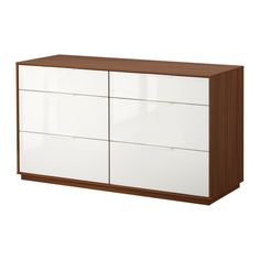 NYVOLL 6-drawer dresser - medium brown/white - IKEA