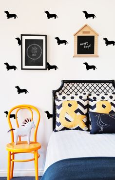 Did somebody say CUTE? Your little one will go ga ga over these stunning doggie decals.  Each decal is crafted using an ultra thin, high quality vinyl material which allows them to blend seamlessly into the wall. Easy peasey installation and removable (not reusable) making them great for renters and commitment phobes.  Pack Includes: 42 x Decals (enough to do an aprox 4m x 2.7m wall)   + Easy to follow install instructions  Decal Size: Aprox 11cm in length