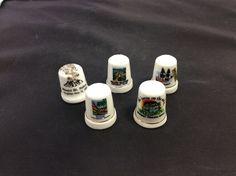 Lot of 5 collectible Porcelain Thimbles
