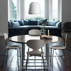 Fritz Hansen's Choice Ant Chairs Grey Oak with Bronze Legs. Grey Marble Poul Kjaerholm Table.