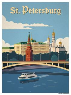 Vintage Travel Image of Moscow River Poster - Browse all products in the Travel Posters - World Destinations category from IdeaStorm Studio Store. Poster City, Poster S, Tourism Poster, Photo Vintage, Retro Poster, Thinking Day, Vintage Travel Posters, Vintage Advertisements, World