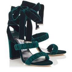 The Jimmy Choo MARCELLA 95 Bottle Green Velvet Sandals