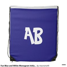 Fun Blue and White Monogram Initials Drawstring Backpack