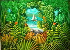 """Original Haitian Painting by Jn-Louis, Eric 6""""x8"""" The Boat Oil on Board #3MFN Collector's Item $750 - See more at: http://www.naderhaitianart.com/orhaarjner6x4.html#sthash.XyWJ2Q43.dpuf"""