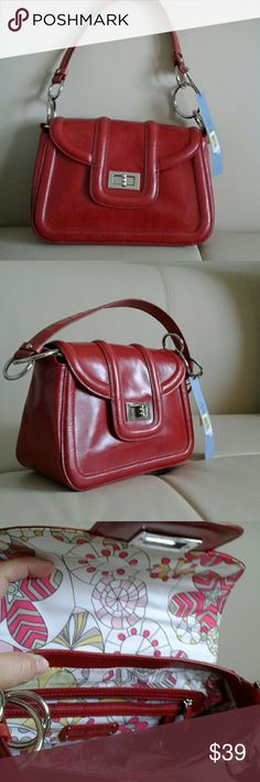 ?KATE LANDRY  HAND BAG COLOR RED? Kate Landry Small Red Leather Shoulder Bag New with tag Silver tone hardware, turn lock closure Kate Landry Bags Shoulder Bags