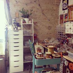 Michelle Starbuck Designs studio #workspace #jeweler #studio #ikea #organization #exposedbrick #desk
