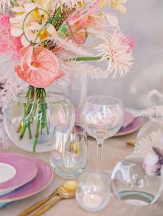 La Tavola Fine Linen Rental: Dupionique Iridescence Blush with Dupionique Ice Blue Napkins | Photography: Sally Pinera, Design: Smith & James Events, Florals: Of The Flowers, Paper Goods: Swell Press, Rentals: Theoni Collection