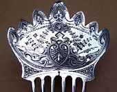 Vintage hair comb Victorian silver plated mantilla style signed hair comb