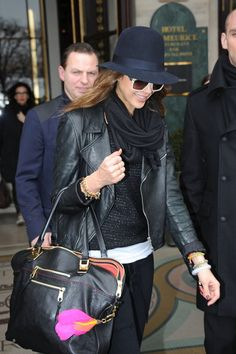 layers of black. kate moss says to never wear sunglasses and a hat together, because it looks like you're wearing a disguise.