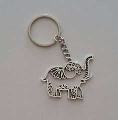Mandala Elephant Keychain, Elephant Keychain, Elephant Zipper Pull, Good Luck Charm, Hollow Design E Elephant Love, Elephant Design, Elephant Print, Elephant Gifts, Silver Pooja Items, Elephant Keychain, Tween Gifts, Monogram Keychain, Matching Necklaces