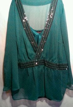 LANE BRYANT 2 Piece Set Green Multicolor Shell SHEER BLOUSE Solid CAMI SZ 18/20 in Clothing, Shoes & Accessories, Women's Clothing, Tops & Blouses | eBay