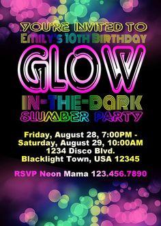 Glow in the Dark Birthday Party Invitation by ParchmentSkies