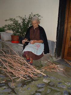Making kindling in Buggio, Italy