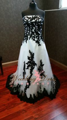 Wedding Dress Fantasy - Black and White Bridal Gown (http://www.weddingdressfantasy.com/black-and-white-bridal-gown-bwdn151-available-in-every-color/) http://www.weddingdressfantasy.com