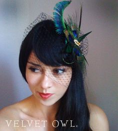 Peacock fascinator and detach White, Ivory or Black french netting birdcage veil- THEODORA. $88.00, via Etsy.