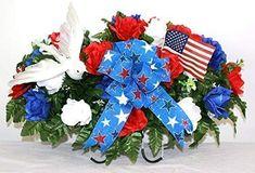 XL Patriotic, Memorial, Veterans Artificial Silk Flower Cemetery Tombstone Grave Saddle Crazyboutdeco Cemetery Flowers