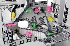 """This diorama puts Peeps rabbits in the labyrinthine black-and-white geometry of M.C. Escher's original work """"Relativity."""" Escher was the stand-out artist for impossible shapes. Types Of Optical Illusions, Impossible Shapes, Marshmallow Peeps, Peep Show, Most Famous Artists, Peer Pressure, Mc Escher, Easter Peeps, Good Night Moon"""