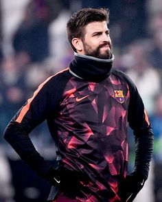 """""""Gerard Pique looks on before the UEFA Champions League Group D football match Juventus Barcelona on November 2017 at the Juventus stadium in Turin. Watch Football, Football Match, Football Team, Gerald Pique, Juventus Stadium, Uefa Champions League, Turin, Lionel Messi, Soccer Players"""