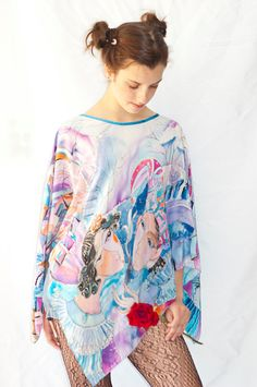 Hand Painted Silk Tunic Poncho Blouse Happy Date