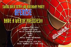 Card: Spiderman Birthday Invitations Head Spiderman Birthday Invitations, Party Themes, Birthday Parties, Cards, Design, Tomy, Birthday Celebrations, Map, Design Comics