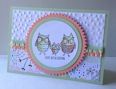"Sale-a-bration embossing folder and DSP are the best. Stampin' Up! ""Baby We've Grown"" stamps and In Colors make a cute card."