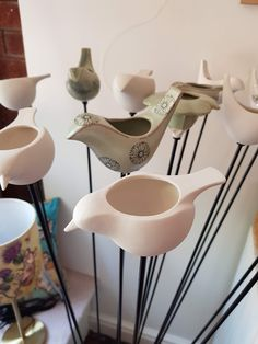 These wonderful bird feeders continue to be one of our bestsellers and are made fairly locally in Staunton Harold in Leicestershire by Greenman Ceramics.  Costing either £14 or £18 (depending on the design) they are frost proof and so are perfect for this Autumnal weather.  #FarthingGallery #BritishMade #Ceramics Autumnal, Bird Feeders, Best Sellers, Frost, Weather, Ceramics, Gallery, House, Design