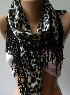 Elegance  Shawl / Scarf with Lacy Edge Black  leopard by womann, $19.00