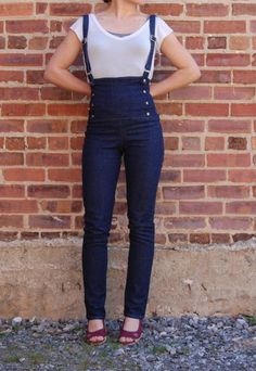 Suspended at Sea, High-Waisted Sailor Pants with built-in Suspenders, Custom Denim Made to Order. $167.00, via Etsy.