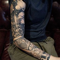 Black Sleeve Tattoo by KhanTattoo
