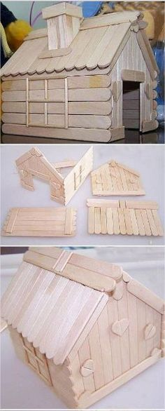 21 Great Ideas with Popsicle Sticks Popsicle Stick Crafts House, Popsicle Sticks, Craft Stick Crafts, Fun Crafts, Diy And Crafts, Crafts For Kids, Paper Crafts, Diy Barbie Furniture, Fairy Furniture