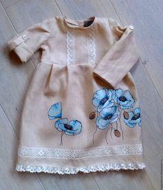 """Купить Льняное детское платье.Ручная роспись. """"Маки"""" - лен, льняное платье, ручная роспись"""
